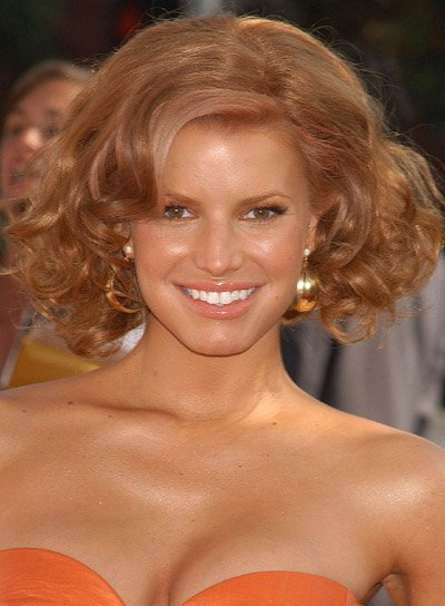 Jessica Simpson Curly, Red Hairstyle