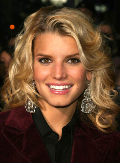 Jessica Simpson Blonde, Curly, Tousled Hairstyle