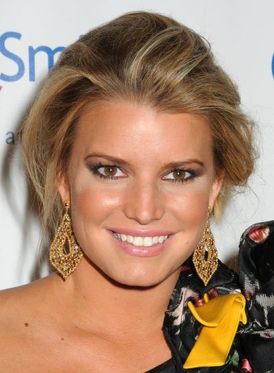 Jessica Simpson Sexy, Tousled Updo with Highlights