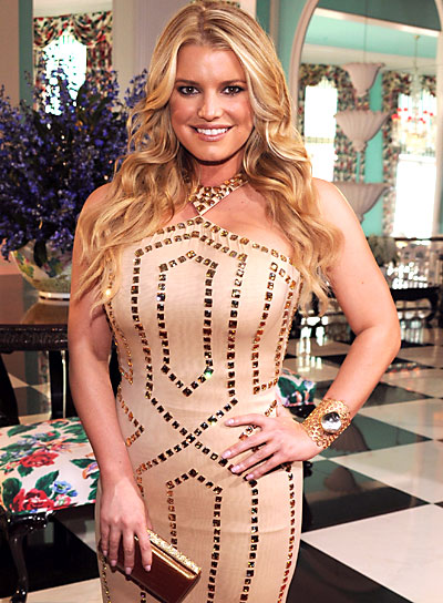 Jessica Simpson Long, Wavy, Hairstyle with Highlights