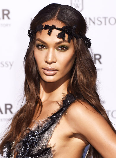 Joan Smalls' Long, Brunette, Wavy, Romantic, Prom Hairstyle