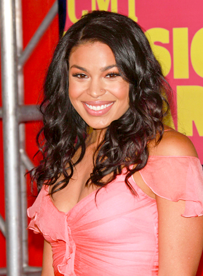 Jordin Sparks' Medium, Curly, Black, Party Hairstyle