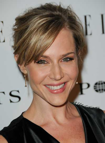 Julie Benz Chic, Blonde Updo with Bangs