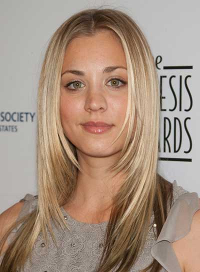 Kaley Cuoco Long, Straight, Layered, Blonde Hairstyle