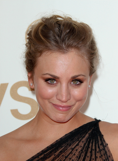 Kaley Cuoco Sexy, Tousled, Brunette Updo