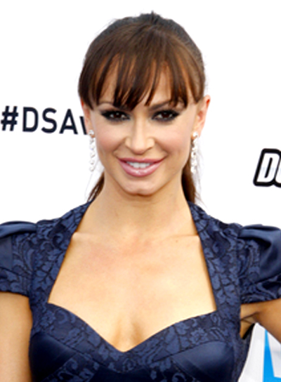 Karina Smirnoff's Long, Tousled, Brunette, Ponytail Hairstyle with Bangs