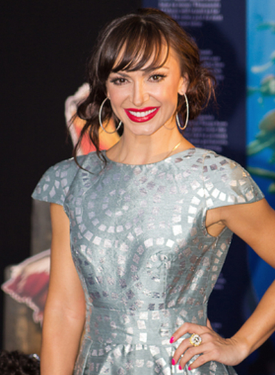 Karina Smirnoff's Tousled, Brunette, Updo Hairstyle with Bangs