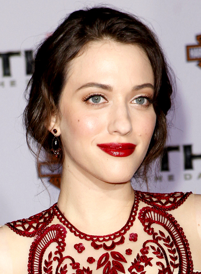 Kat Dennings' Wavy, Brunette, Romantic Updo Hairstyle