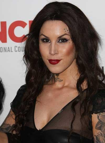 Kat Von D Long, Wavy, Brunette Hairstyle