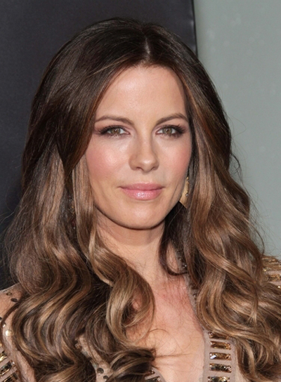 Kate Beckinsale Long, Sexy, Wavy, Brunette Hairstyle with Highlights