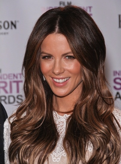 Kate Beckinsale Long, Wavy, Sexy, Brunette Hairstyle