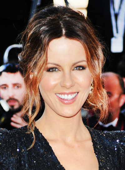 Kate Beckinsale Sophisticated, Chic, Tousled, Curly, Formal, Brunette Updo
