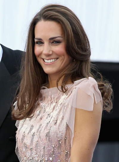 Kate Middleton Long, Romantic, Layered, Brunette Hairstyle