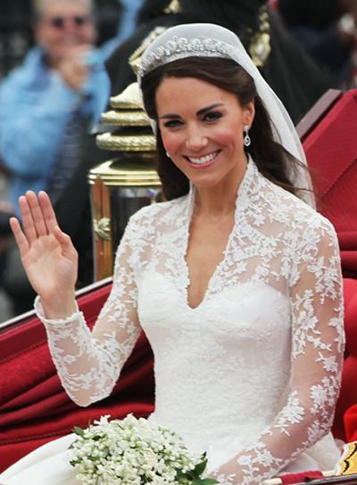 Kate Middleton Long, Romantic, Brunette, Wedding Hairstyle