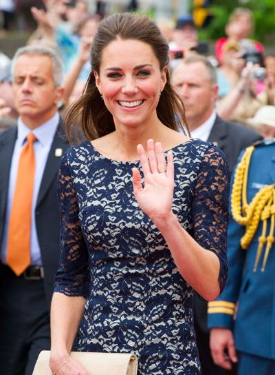 Kate Middleton Chic, Straight, Brunette Half Updo