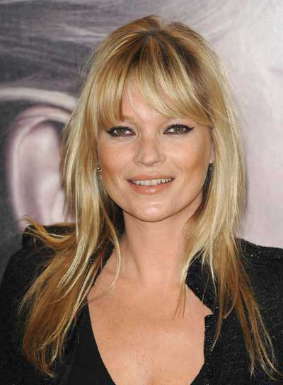 Kate Moss Long, Straight, Sophisticated, Blonde Hairstyle with Bangs
