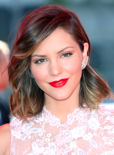 Katharine McPhee's Medium, Wavy, Brunette, Romantic Hairstyle