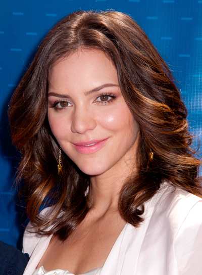 Katharine McPhee's Medium, Wavy, Brunette, Sophisticated Hairstyle