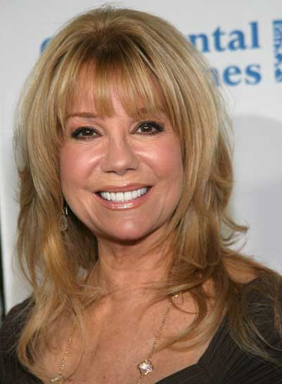 Kathy Lee Gifford Medium, Sophisticated, Layered, Blonde Hairstyle with Bangs
