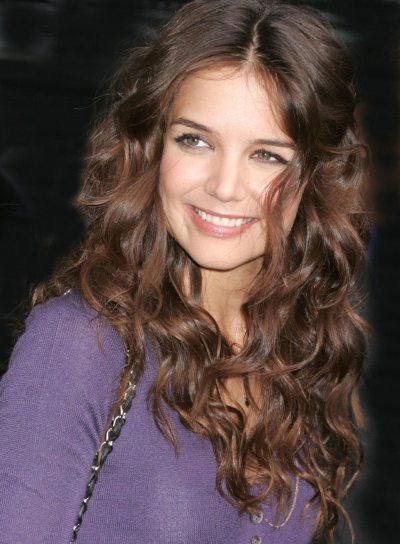 Katie Holmes Curly, Long Hairstyle for Thick Hair