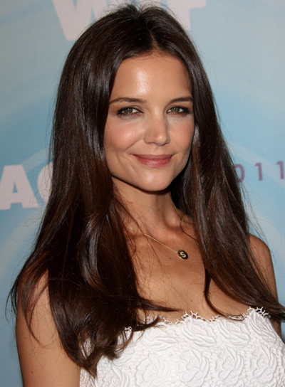 Katie Holmes Long, Straight, Romantic, Sophisticated, Brunette Hairstyle