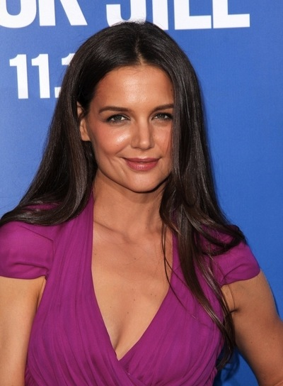 Katie Holmes Long, Straight, Sophisticated, Brunette Hairstyle