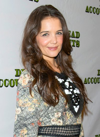 Katie Holmes' Long, Wavy, Tousled, Brunette Hairstyle