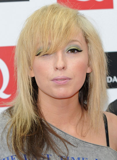 Katie White Medium, Straight, Blonde Hairstyle with Bangs