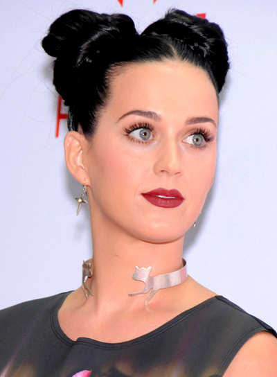 Katy Perry's Black, Edgy, Funky, Updo Hairstyle