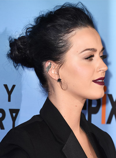 Katy Perry with a Long, Black, Formal, Updo Hairstyle Pictures
