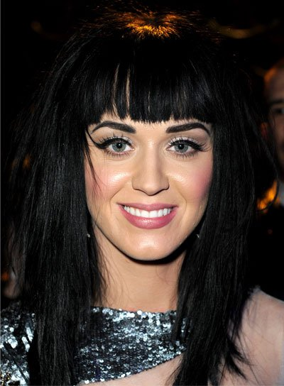 Katy Perry Straight, Black Hairstyle with Bangs