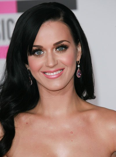 Katy Perry Long, Wavy, Black Hairstyle
