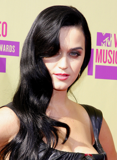 Katy Perry's Long, Wavy, Romantic, Black Hairstyle