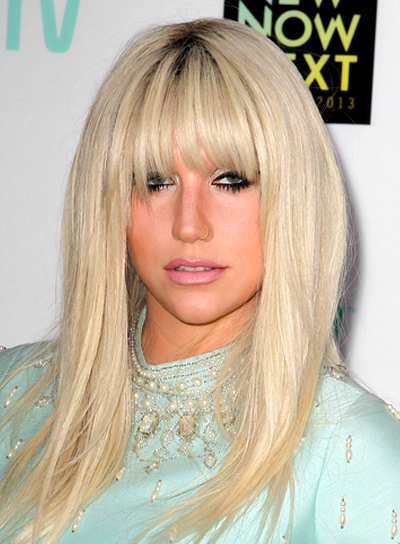 Ke$ha's Straight, Blonde, Edgy Hairstyle with Bangs