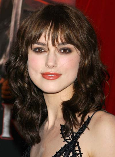 Keira Knightley Curly Hairstyle with Bangs