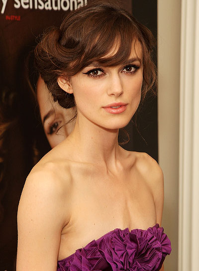 Keira Knightley Sophisticated Updo with Bangs