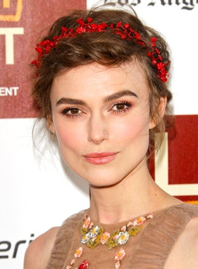 Keira Knightley's Romantic, Brunette, Updo Hairstyle with Braids and Twists