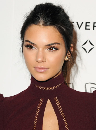 Kendall Jenner's Long, Brunette, Straight, Tousled, Edgy, Ponytail Hairstyle