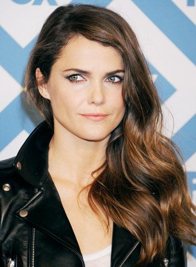 Keri Russell Long, Wavy, Brunette, Edgy Hairstyle