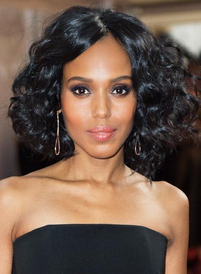Kerry Washington's Medium, Curly, Sophisticated, Black Hairstyle
