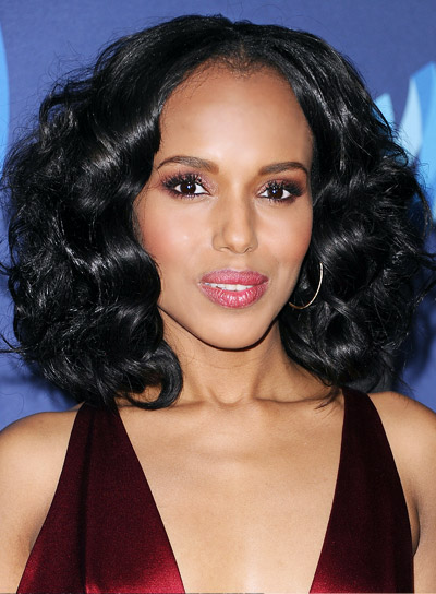 Kerry Washington with a Medium, Black, Curly, Romantic Hairstyle Pictures