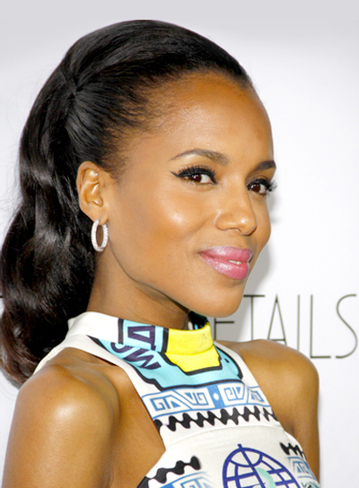 Kerry Washington's Chic, Formal, Black, Half Updo Hairstyle