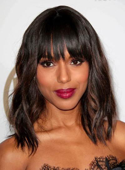 Kerry Washington's Medium, Wavy, Brunette Hairstyle with Bangs