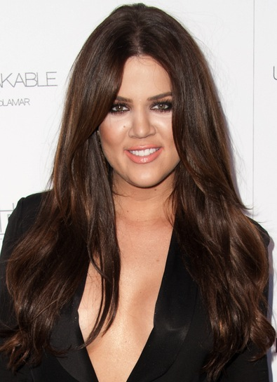 Khloe Kardashian Long, Brunette Hairstyle