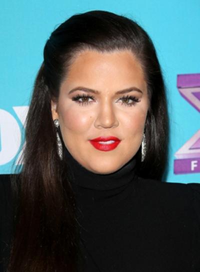 Khloe Kardashian's Long, Straight, Sophisticated, Half Updo Hairstyle