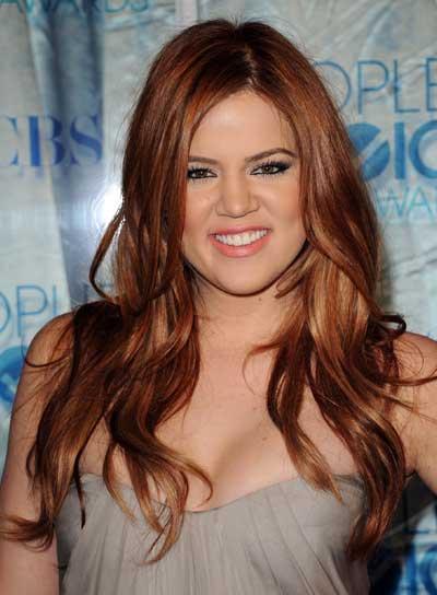 Khloe Kardashian Long, Tousled, Red Hairstyle
