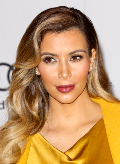 Kim Kardashian's Long, Wavy, Blonde, Sophisticated Hairstyle