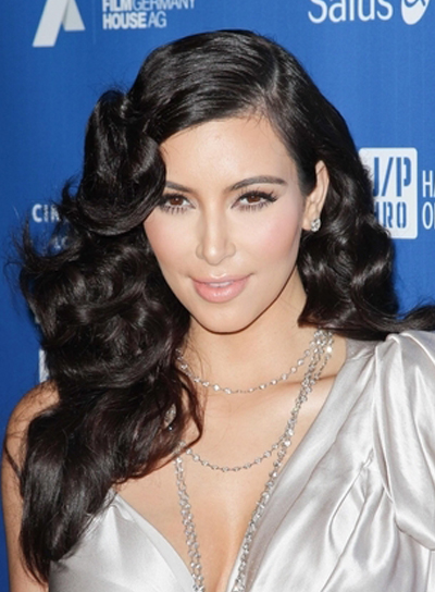 Kim Kardashian Long, Curly, Romantic, Sophisticated, Black Hairstyle