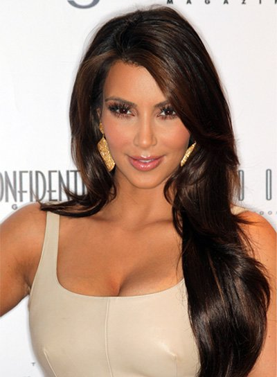 Kim Kardashian Long, Sophisticated Hairstyle with Highlights