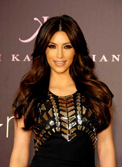 Kim Kardashian Layered, Brunette Hairstyle